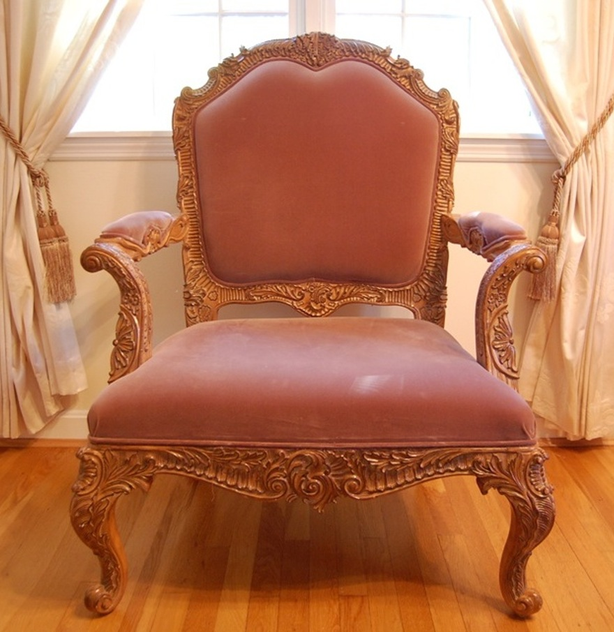 This rose pink velvet Louis XV Rococo style chair (erm, fauteuil) that sold for $315.