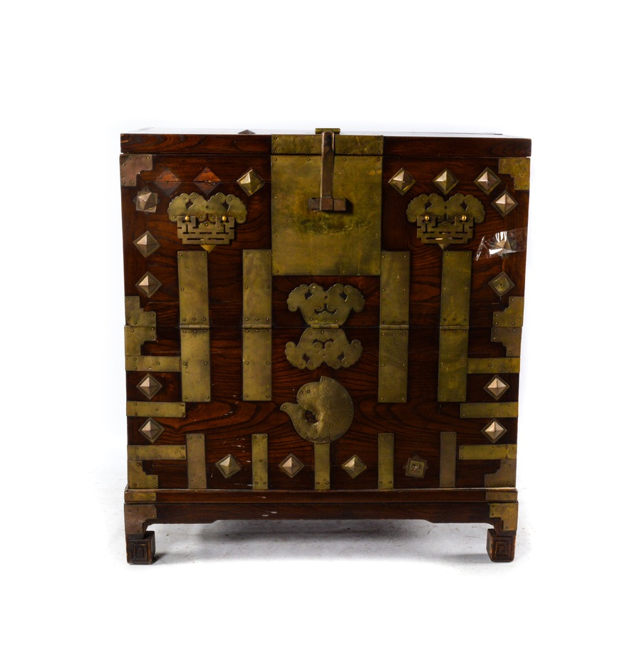 This unique Chinese Elm and Brass Chest that sold for $71.