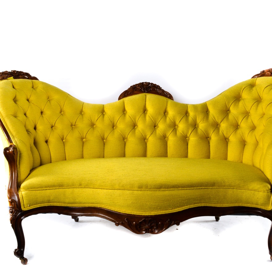This bright, funky Rococo Revival Settee that sold for $150. I REALLY wanted this!