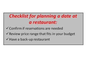 Checklist for planning a date