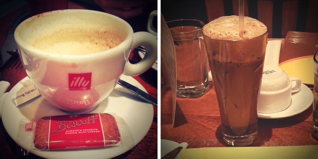 Cappuccino (L) and Greek Frappe (R)
