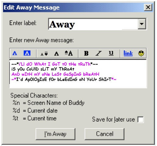 aim away message 90s